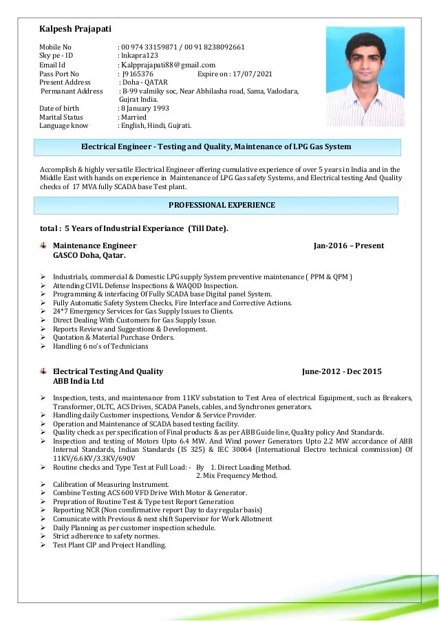 electrical engineer resume sample in india