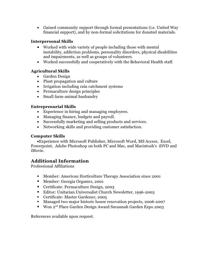 Functional Resume Example Sample Resume Garden Manager