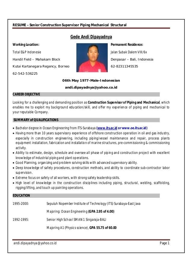 piping supervisor resume - Josemulinohouse - construction supervisor resume