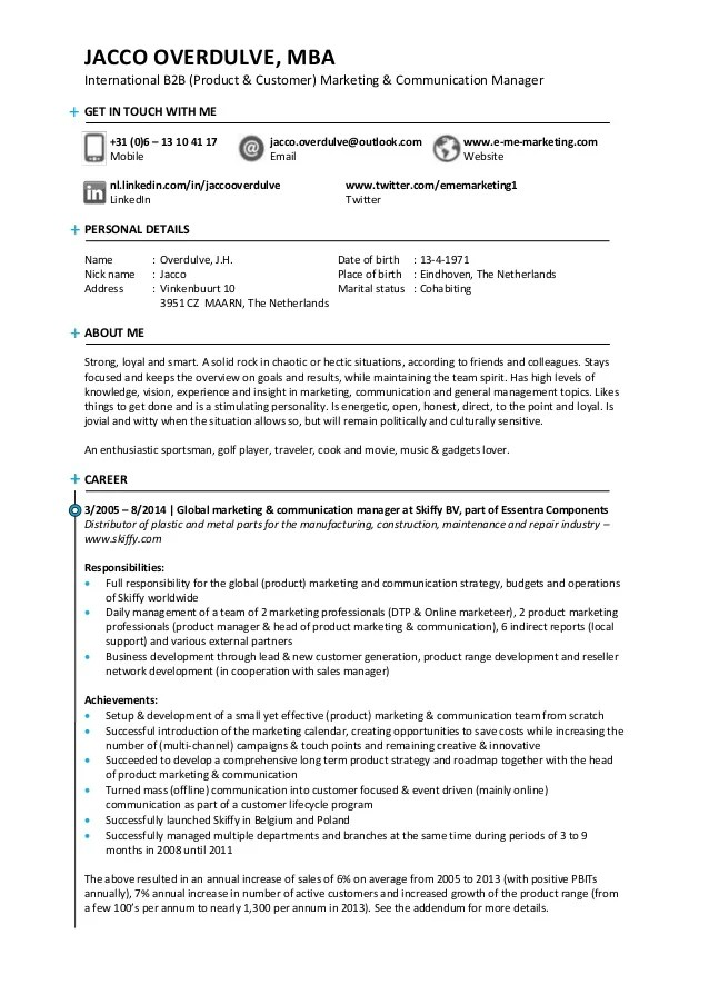 Office Manager Resume Example Free Professional Document Resume Of Jacco Overdulve Readily Available For A Senior