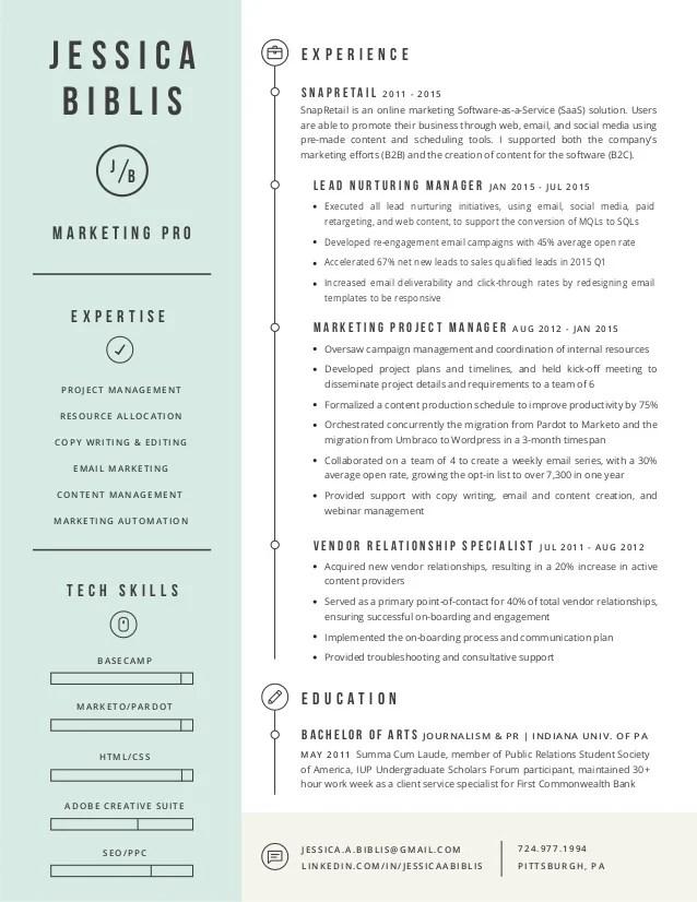 marketing project manager resume - Ozilalmanoof