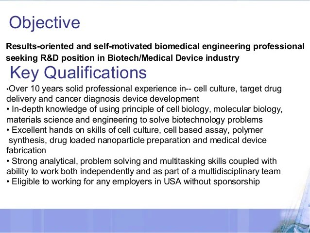 objective for resume medical