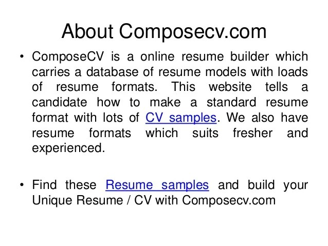 Resume Builder Linkedin Resume Cv Samples Free Resume Maker Online Composecv