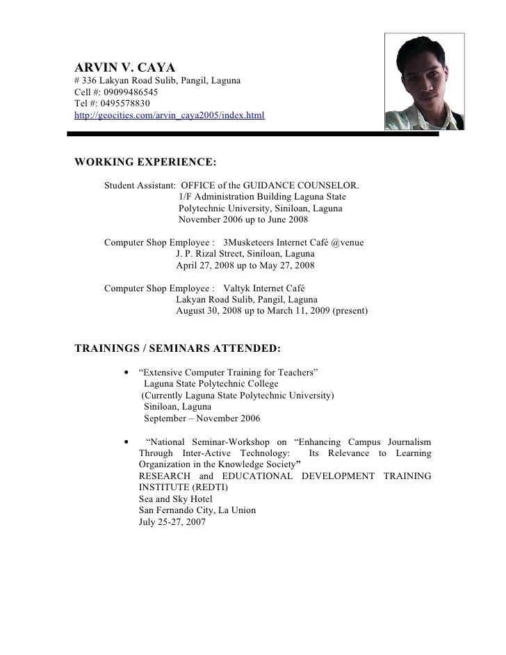 Sample Resume Format For Fresh Jobstreet Philippines Resume Primary