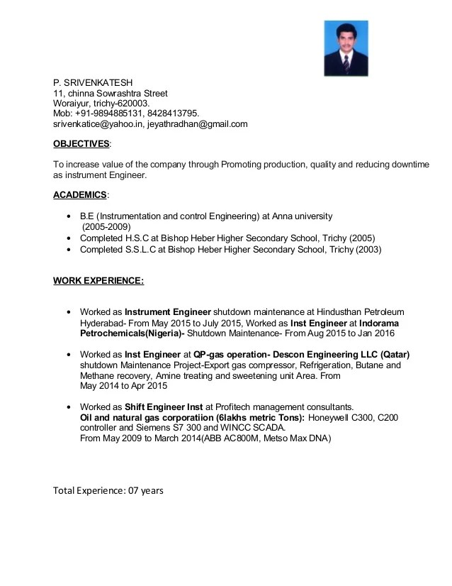 sample resume for instrumentation and control technician
