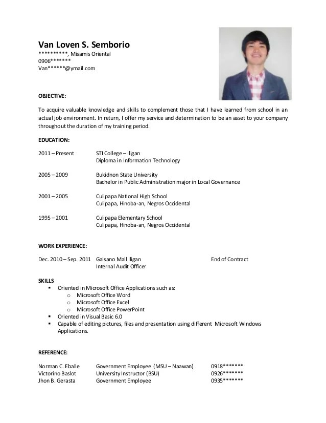 Resume Sample For Hrm Fresh Graduates - Template