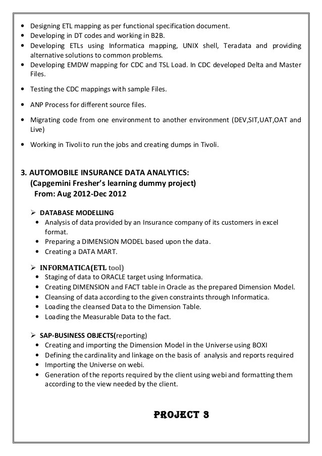 informatica sample resume - Towerssconstruction