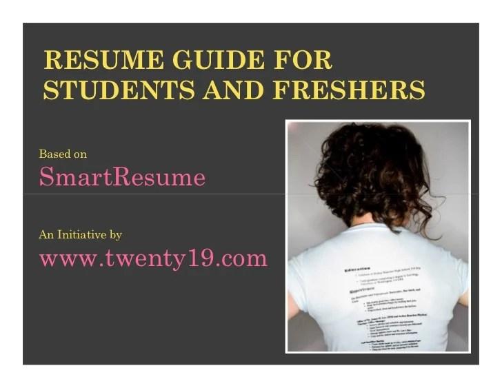 Resume Writing Ppt Presentation Slideshare Smartest Resume Guide For Students And Freshers