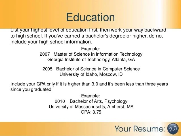 how to write your bachelor degree on a resume professional