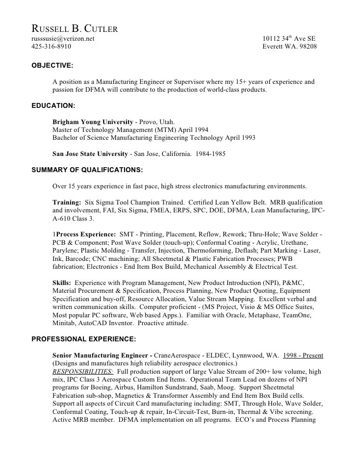 production engineering resumes - Minimfagency - manufacturing engineering sample resume