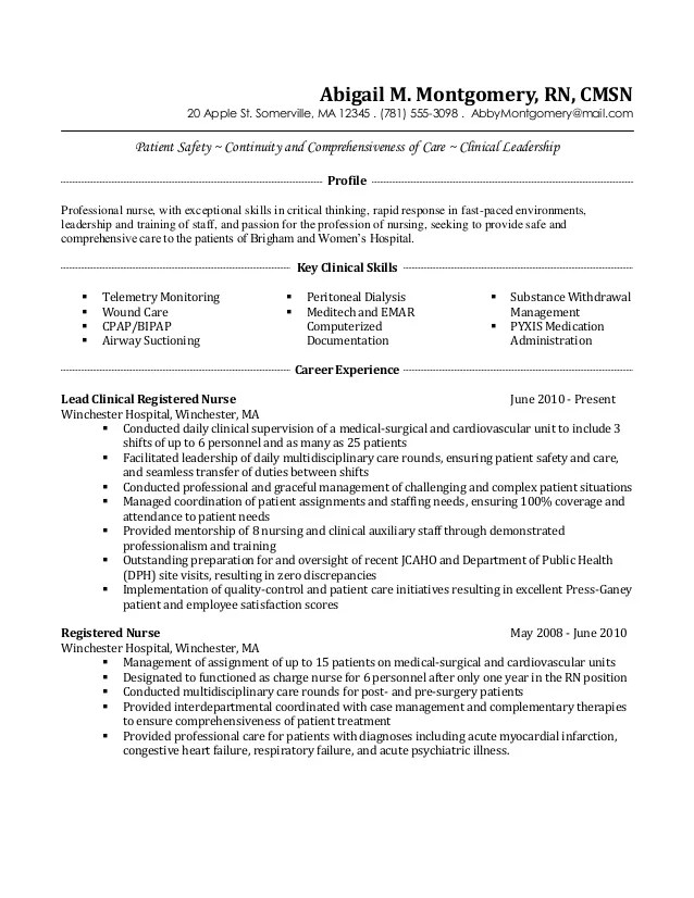 surgical nurse resume examples