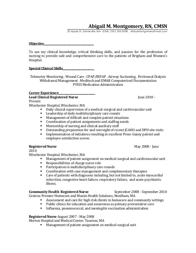 Free Charge Nurse Resume Example Nurse Resumes Rn Duties For