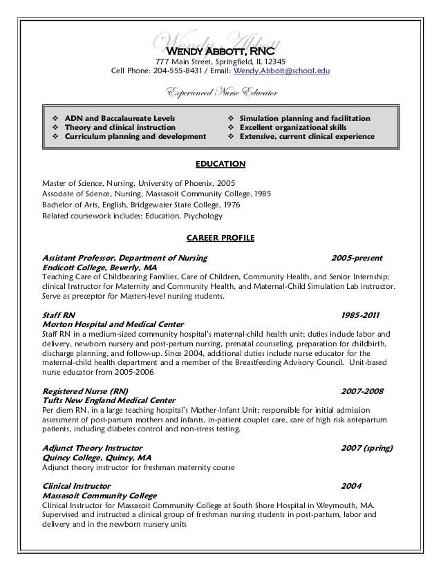 nurse educator resume sample nurse educator cover letter nurse
