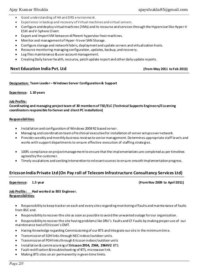 Job Responsibilities O Great Sample Resume Resume Ajay Shukla Windows Server Vmware Admin