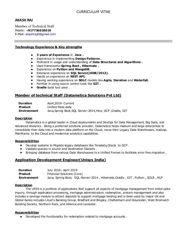 java developer resume technical skills