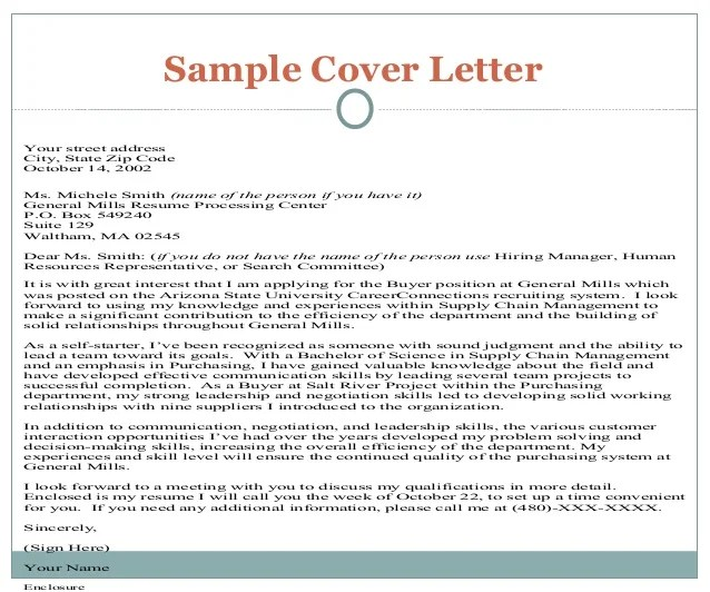 Resume Cover Letter General Sample | Resume Examples and Writing Tips