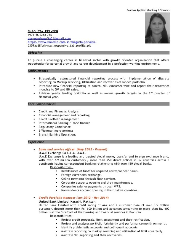 resume banking experience
