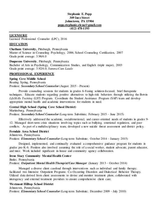 licensed professional counselor resume - Funfpandroid