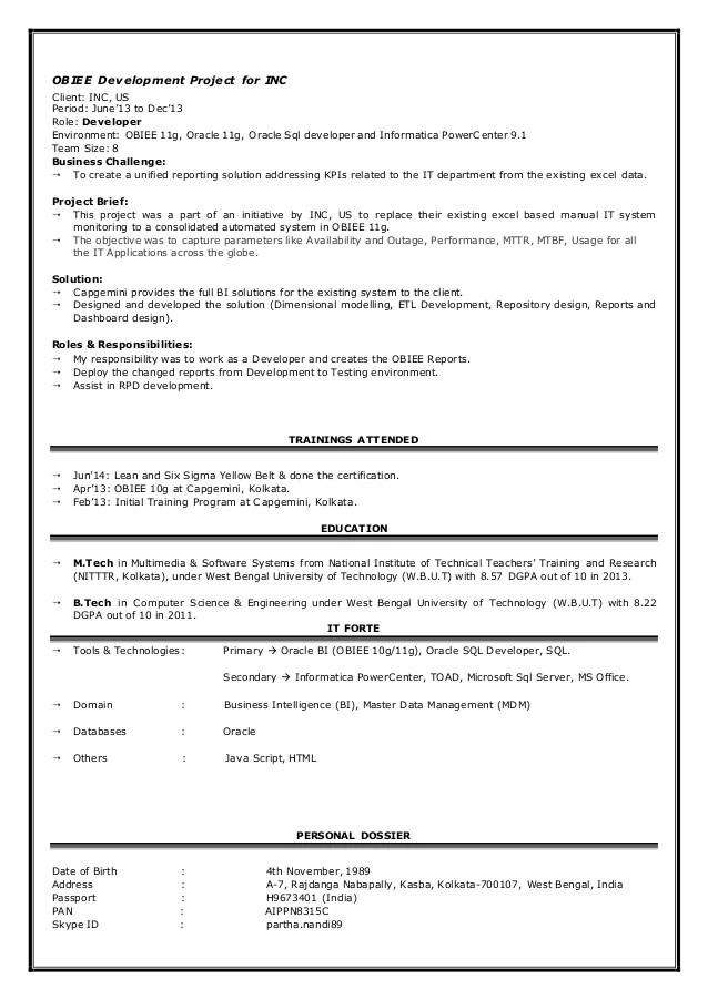 informatica resume sample - Acurlunamedia
