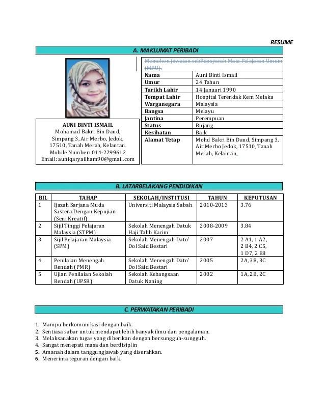 Resume terbaik dalam bahasa melayu