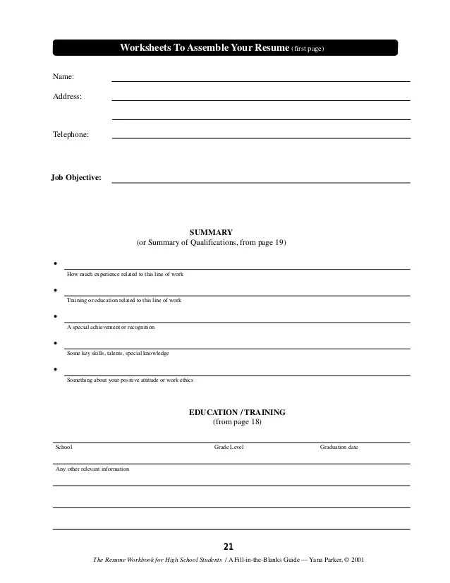 resume builder worksheet - Minimfagency - resume builder high school students
