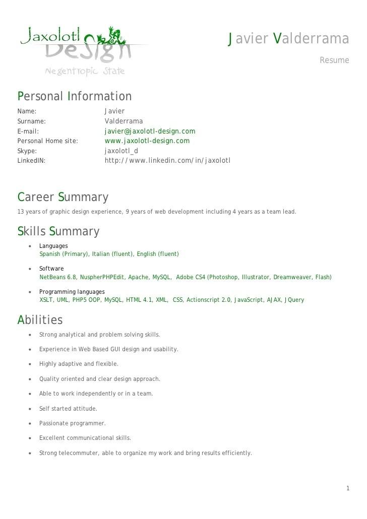 Resume Senior Net Developer | Example CV Refference