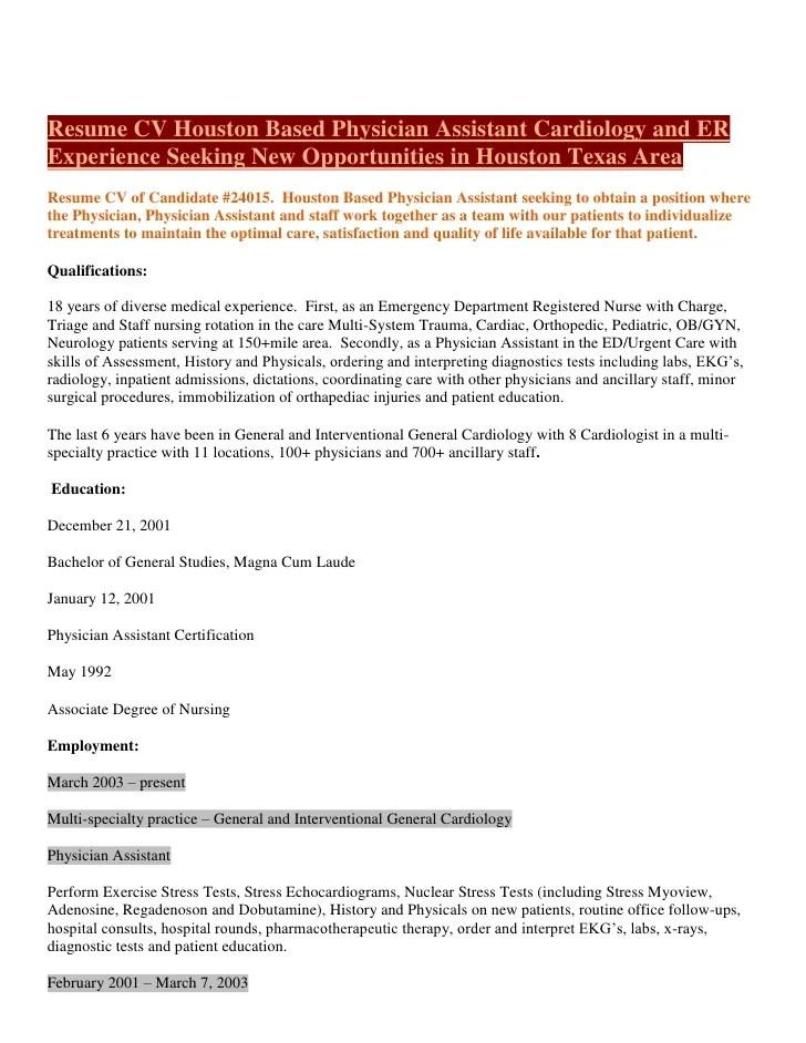 cardiologist resume - Funfpandroid - assistant practitioner sample resume