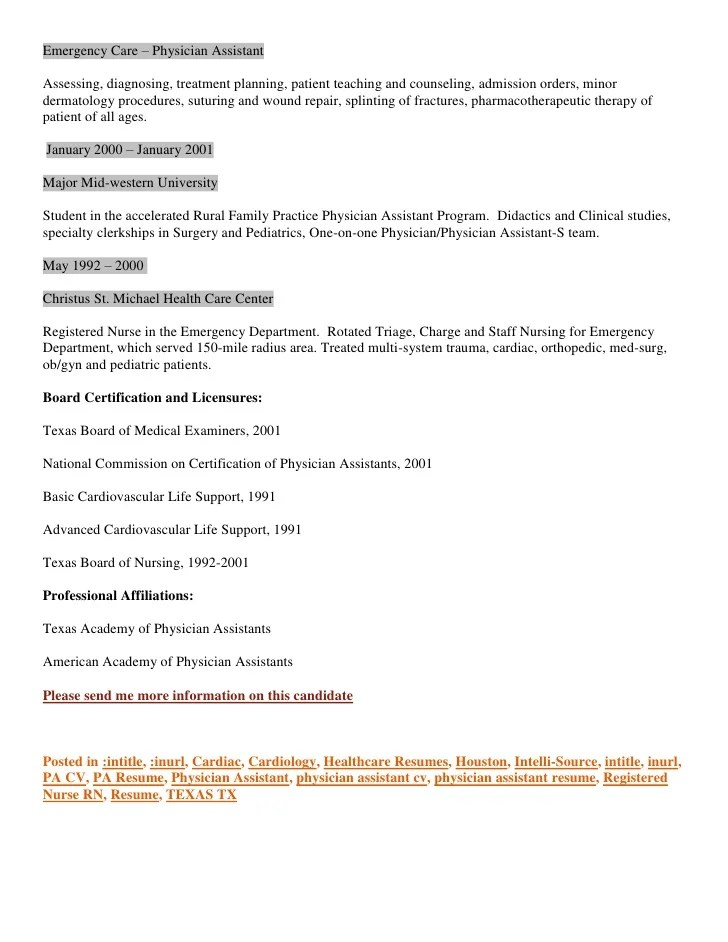 Medical Assistant Resume Examples Medical Assistant Atlas Resume Cv Houston Based Physician Assistant Cardiology And