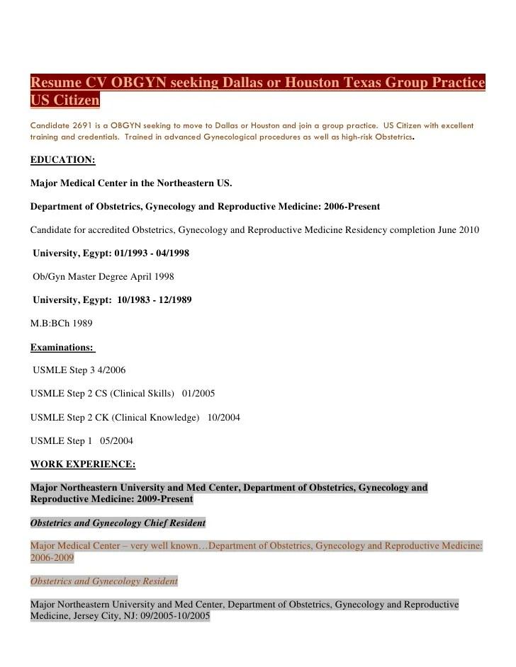 Cv Examples And Live Cv Samples Resume Cv Obgyn Physician Seeking Dallas Or Houston Texas
