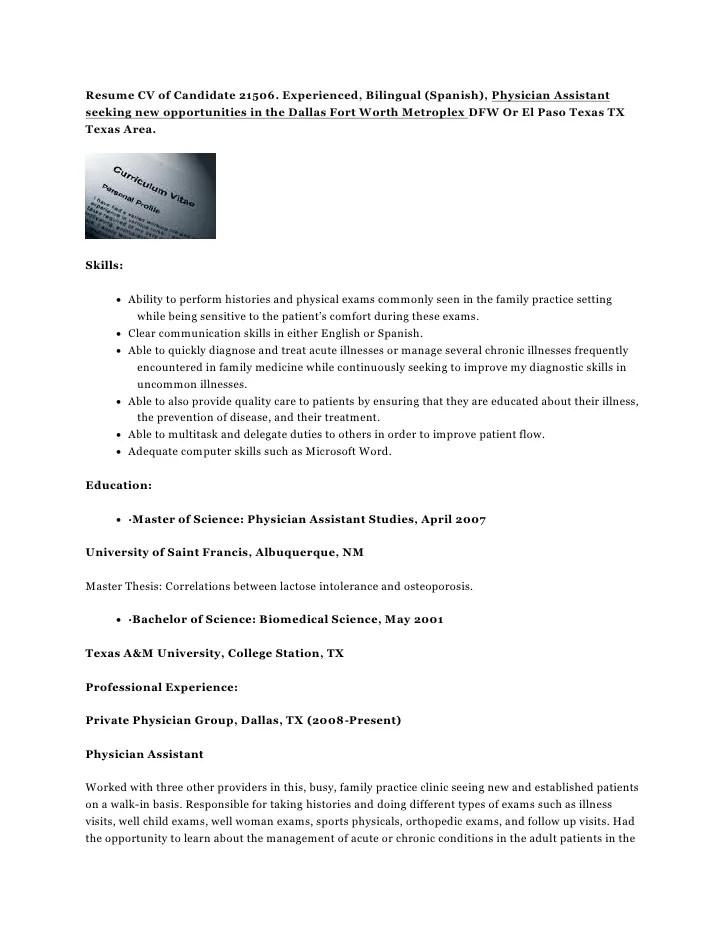 New Physician Assistant Cv – Physician Assistant Job Description