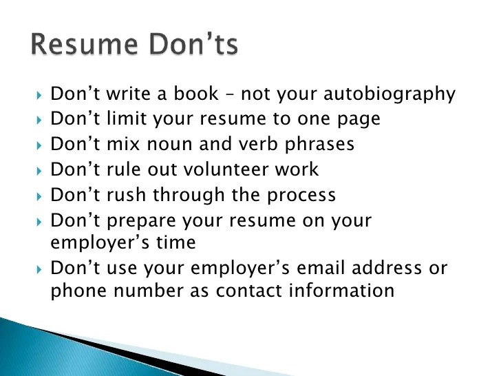 dos and donts of resumes - Ozilalmanoof