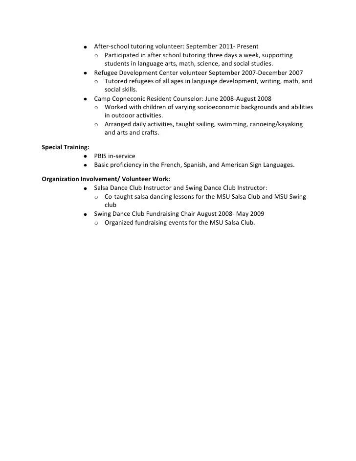 After School Tutor Resume resume example for english tutor teacher