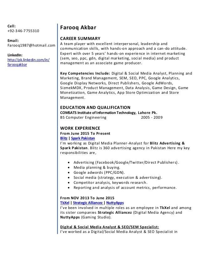 ppc specialist resume - Goalgoodwinmetals - social media analyst sample resume