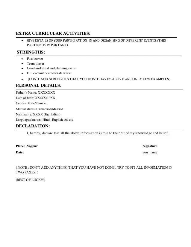 extra curricular activities in resume for freshers examples