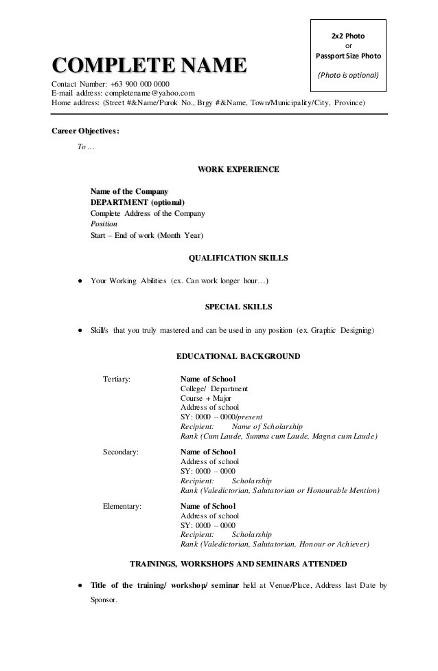 College Student Resume Template Resume Format