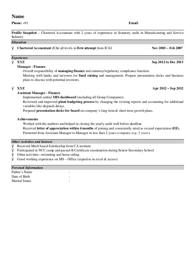 chartered accountant resume format - Minimfagency
