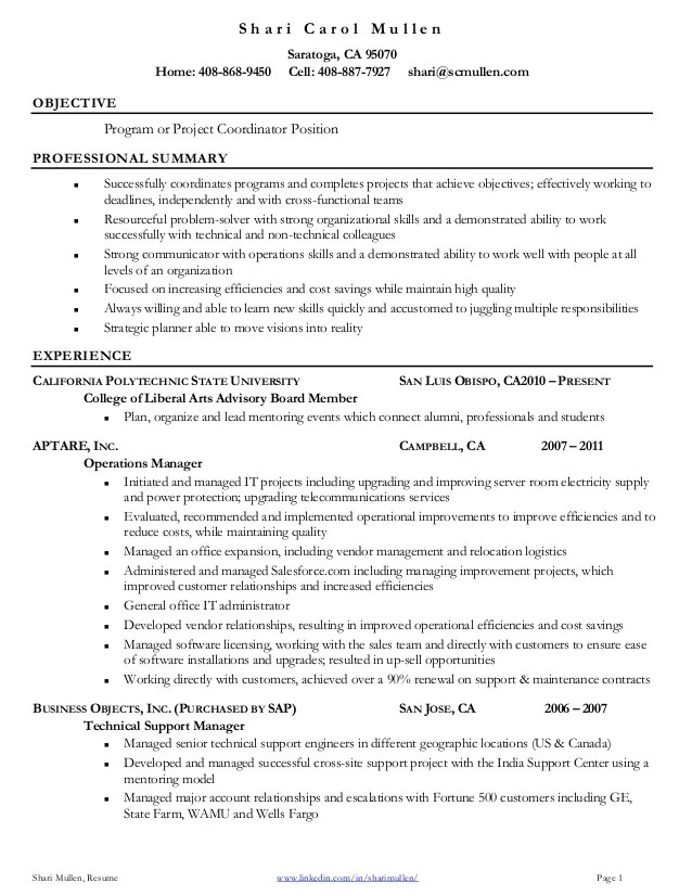resume summary examples project coordinator