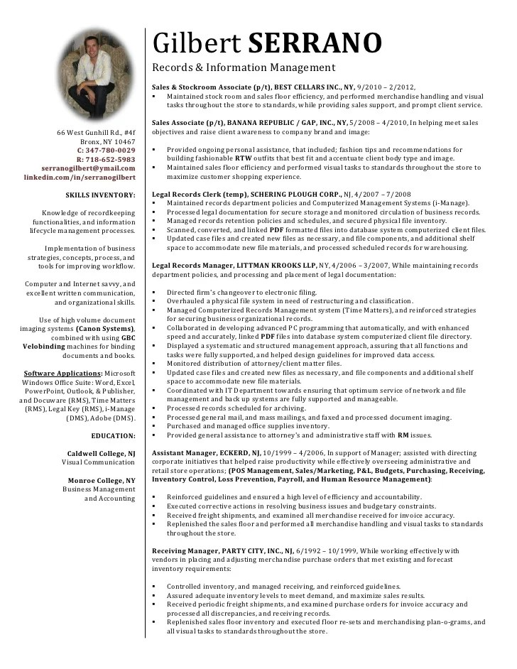 records management resumes - Canasbergdorfbib