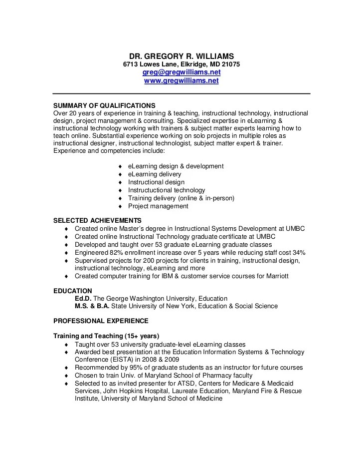 Instructional Technology Specialist Sample Resume Instructional