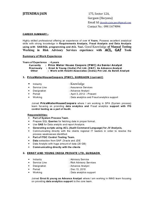 it consulting sample resume