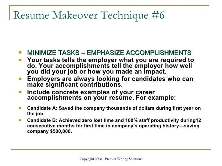 operational tasks examples cv