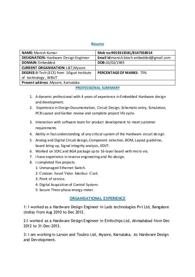hardware design engineer resume - Josemulinohouse