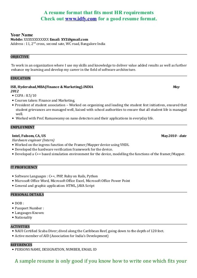 DOWNLOAD RESUME FORMAT IN PDF   WORD DOC