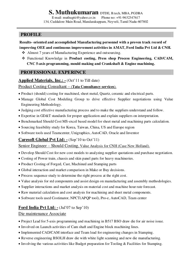 product costing engineer resume sample