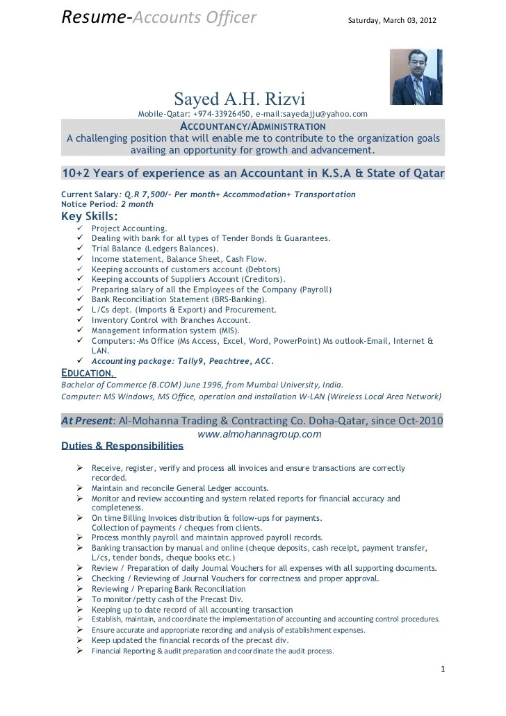 resume format for experienced in accounts