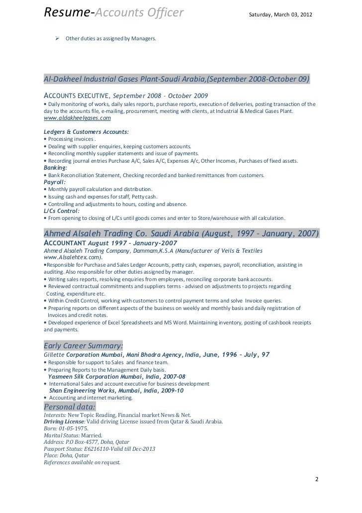accounts officer resume sample - Onwebioinnovate