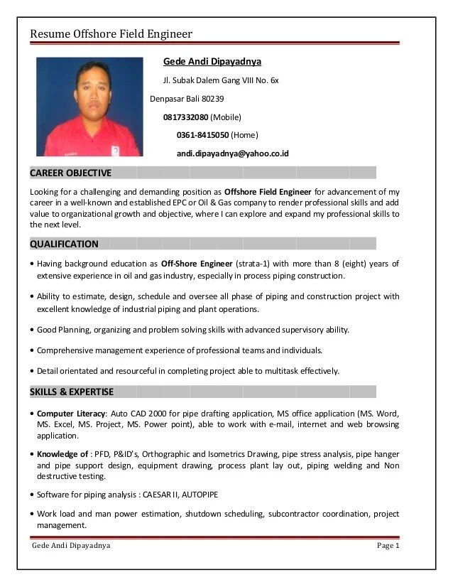 sample resume for oil and gas industry - Gurekubkireklamowe
