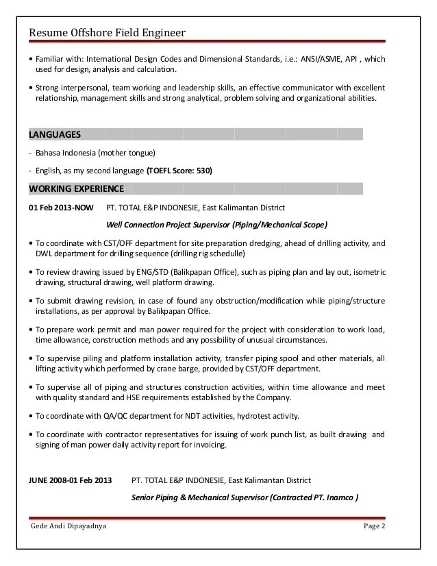 offshore resume - Intoanysearch