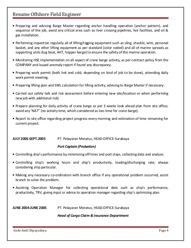 piping supervisor resume - Piping Field Engineer Sample Resume