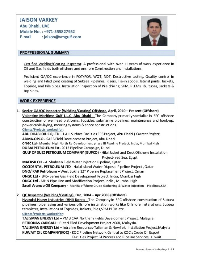 civil inspector resume sample